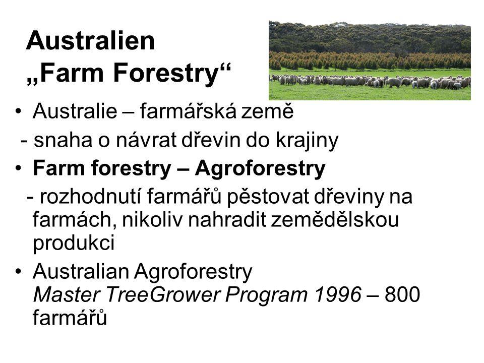 """Australien """"Farm Forestry"""" Australie – farmářská země - snaha o návrat dřevin do krajiny Farm forestry – Agroforestry - rozhodnutí farmářů pěstovat dř"""