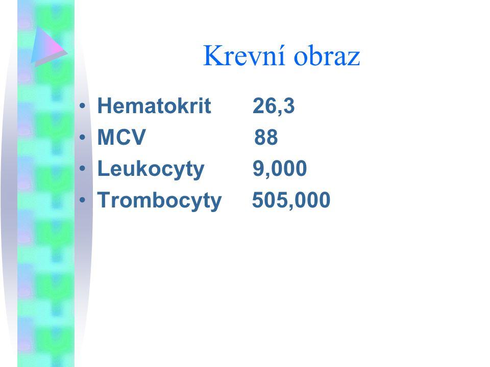 Krevní obraz Hematokrit 26,3 MCV 88 Leukocyty 9,000 Trombocyty 505,000