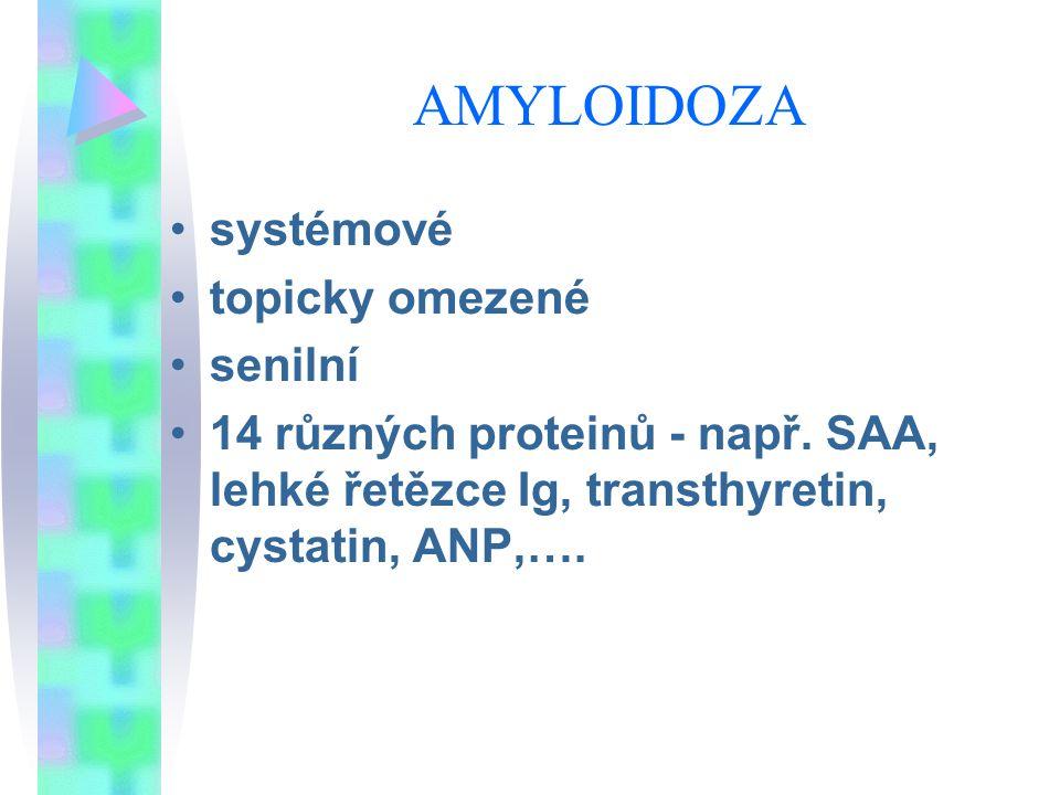 AMYLOIDOZA systémové topicky omezené senilní 14 různých proteinů - např. SAA, lehké řetězce Ig, transthyretin, cystatin, ANP,….