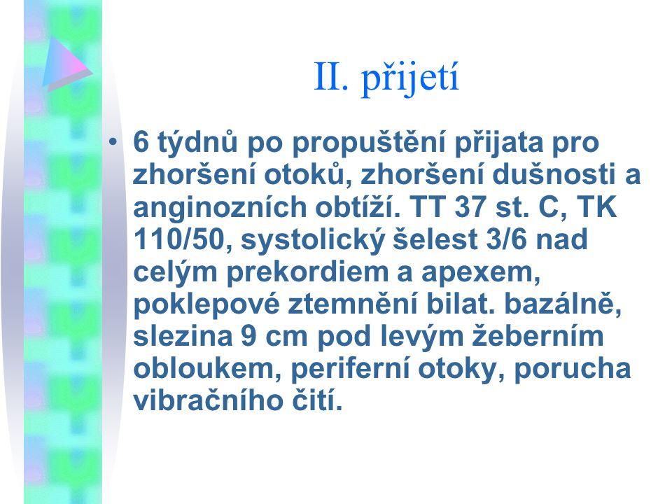 II. přijetí 6 týdnů po propuštění přijata pro zhoršení otoků, zhoršení dušnosti a anginozních obtíží. TT 37 st. C, TK 110/50, systolický šelest 3/6 na