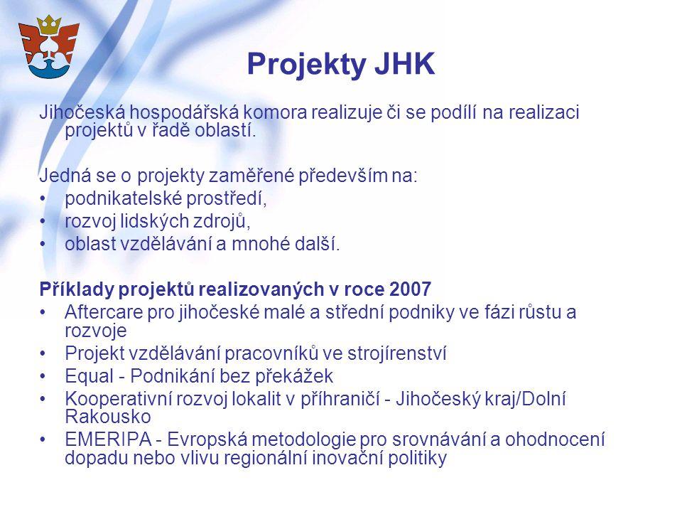 Projekty JHK Jihočeská hospodářská komora realizuje či se podílí na realizaci projektů v řadě oblastí.