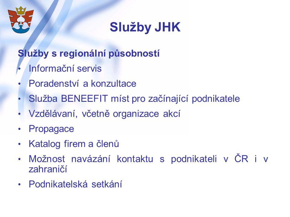 Služby JHK Služby s regionální působností Informační servis Poradenství a konzultace Služba BENEEFIT míst pro začínající podnikatele Vzdělávaní, včetně organizace akcí Propagace Katalog firem a členů Možnost navázání kontaktu s podnikateli v ČR i v zahraničí Podnikatelská setkání