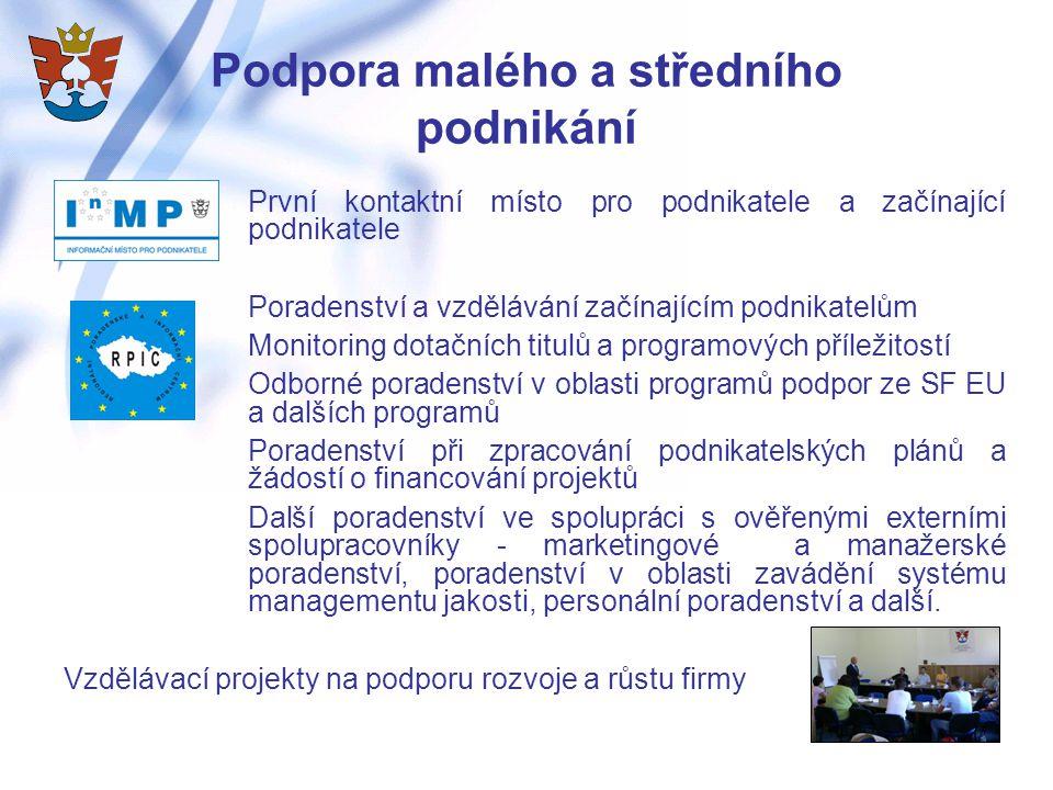 Podpora malého a středního podnikání První kontaktní místo pro podnikatele a začínající podnikatele Poradenství a vzdělávání začínajícím podnikatelům Monitoring dotačních titulů a programových příležitostí Odborné poradenství v oblasti programů podpor ze SF EU a dalších programů Poradenství při zpracování podnikatelských plánů a žádostí o financování projektů Další poradenství ve spolupráci s ověřenými externími spolupracovníky - marketingové a manažerské poradenství, poradenství v oblasti zavádění systému managementu jakosti, personální poradenství a další.