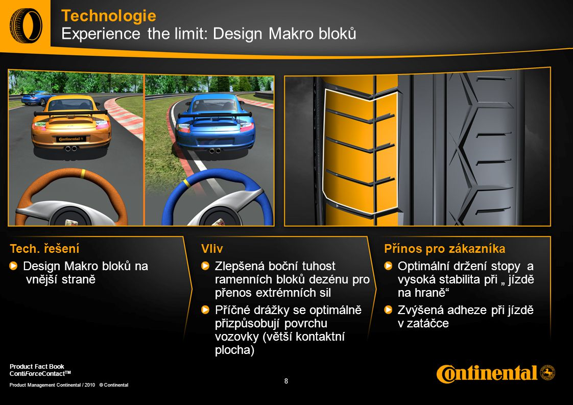 9 9 Product Management Continental / 2010 © Continental Product Fact Book ContiForceContact TM Technologie Experience the limit: Na mokrém povrchu Tech.