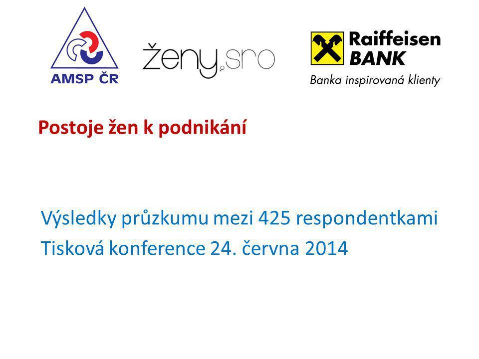 Postoje žen k podnikání Výsledky průzkumu mezi 425 respondentkami Tisková konference 24.