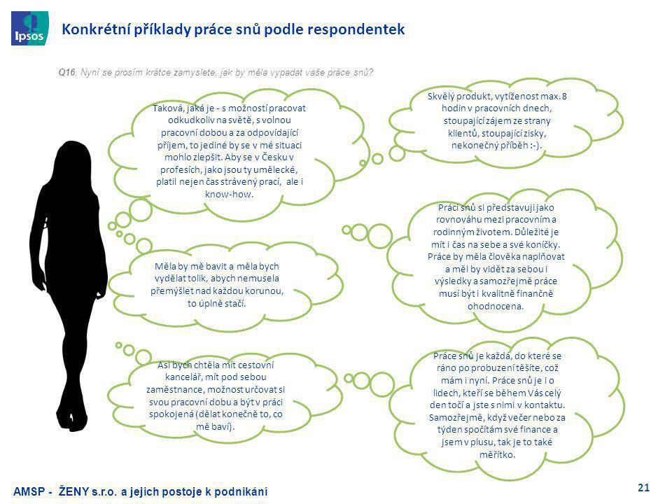 21 Konkrétní příklady práce snů podle respondentek Q16.