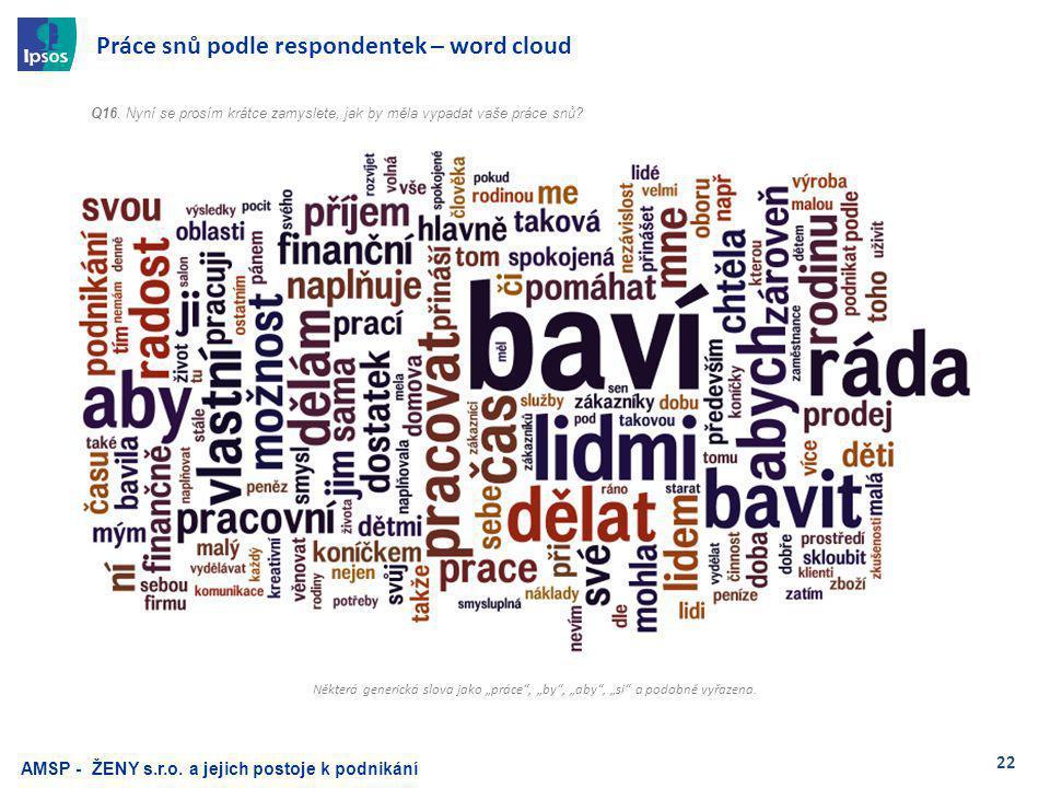 22 Práce snů podle respondentek – word cloud Q16.