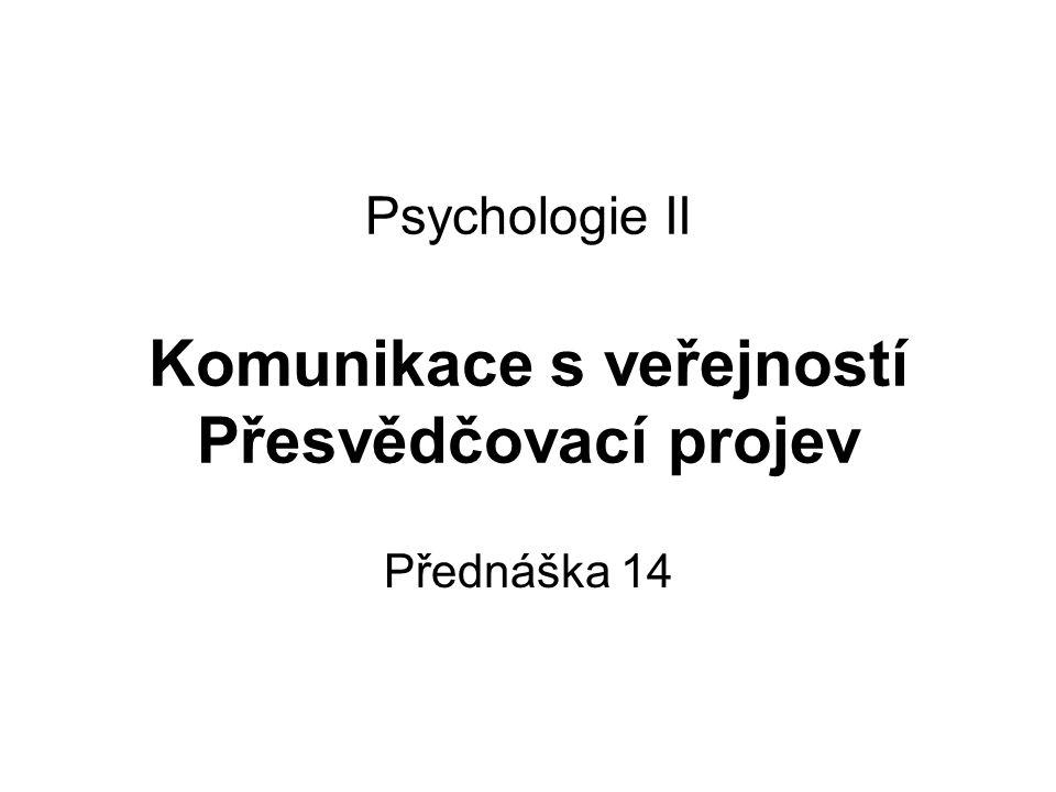 Psychologie II Komunikace s veřejností Přesvědčovací projev Přednáška 14