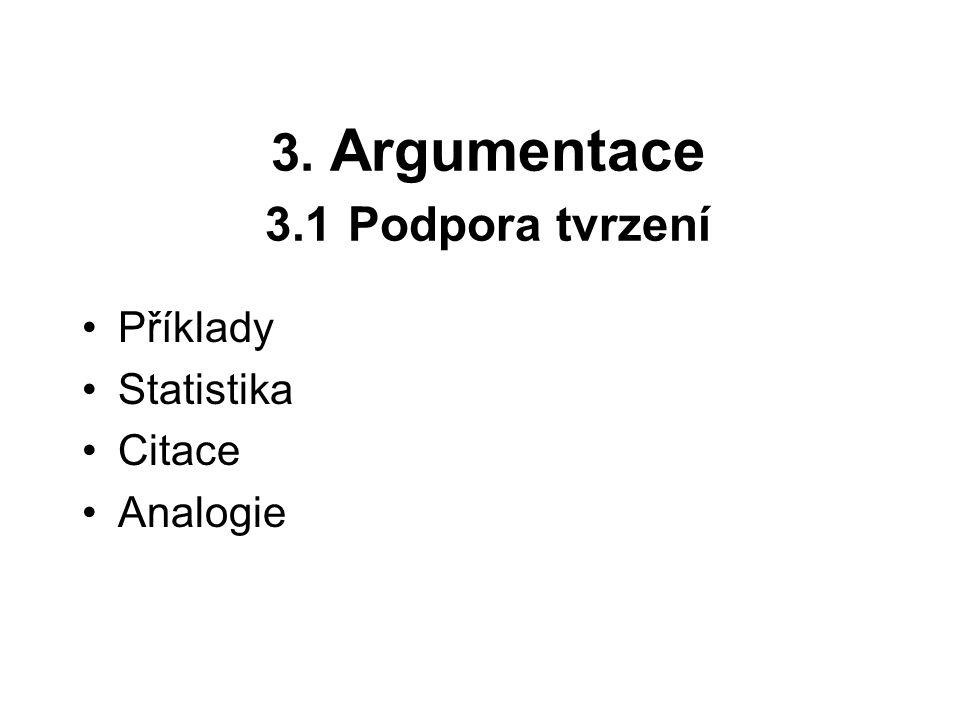 3. Argumentace 3.1 Podpora tvrzení Příklady Statistika Citace Analogie