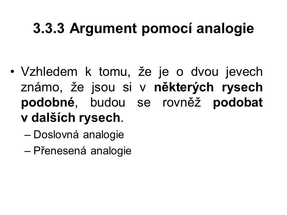 3.3.3 Argument pomocí analogie Vzhledem k tomu, že je o dvou jevech známo, že jsou si v některých rysech podobné, budou se rovněž podobat v dalších ry