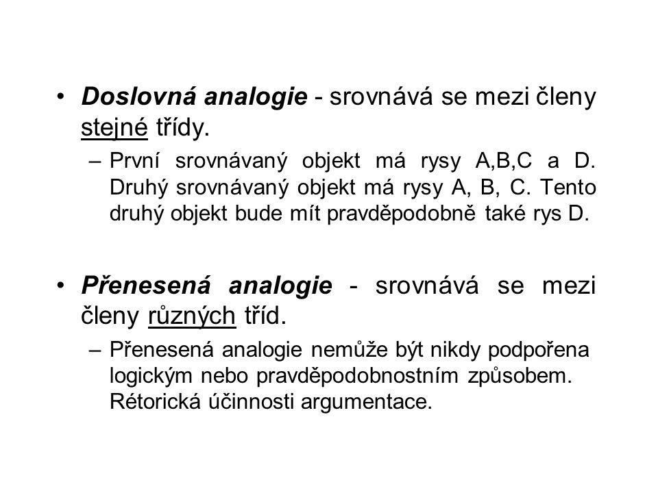 Doslovná analogie - srovnává se mezi členy stejné třídy. –První srovnávaný objekt má rysy A,B,C a D. Druhý srovnávaný objekt má rysy A, B, C. Tento dr