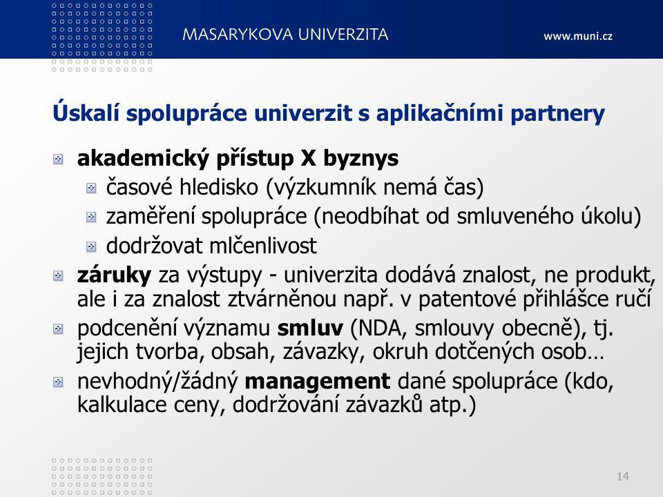 14 Úskalí spolupráce univerzit s aplikačními partnery akademický přístup X byznys časové hledisko (výzkumník nemá čas) zaměření spolupráce (neodbíhat od smluveného úkolu) dodržovat mlčenlivost záruky za výstupy - univerzita dodává znalost, ne produkt, ale i za znalost ztvárněnou např.