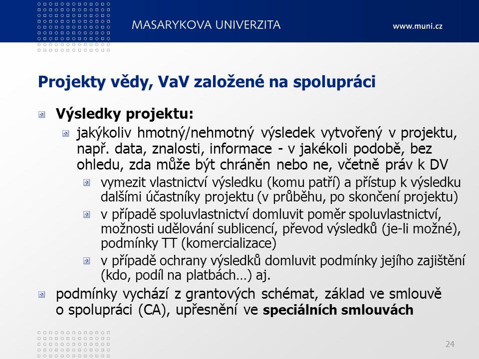 24 Projekty vědy, VaV založené na spolupráci Výsledky projektu: jakýkoliv hmotný/nehmotný výsledek vytvořený v projektu, např.