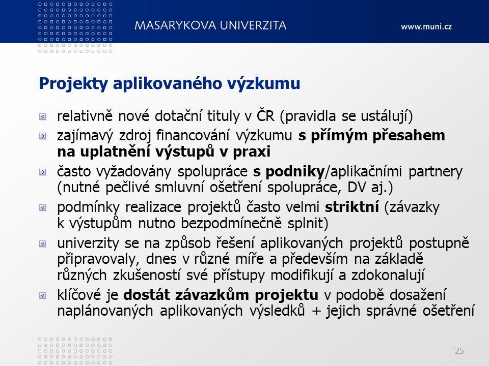25 Projekty aplikovaného výzkumu relativně nové dotační tituly v ČR (pravidla se ustálují) zajímavý zdroj financování výzkumu s přímým přesahem na uplatnění výstupů v praxi často vyžadovány spolupráce s podniky/aplikačními partnery (nutné pečlivé smluvní ošetření spolupráce, DV aj.) podmínky realizace projektů často velmi striktní (závazky k výstupům nutno bezpodmínečně splnit) univerzity se na způsob řešení aplikovaných projektů postupně připravovaly, dnes v různé míře a především na základě různých zkušeností své přístupy modifikují a zdokonalují klíčové je dostát závazkům projektu v podobě dosažení naplánovaných aplikovaných výsledků + jejich správné ošetření
