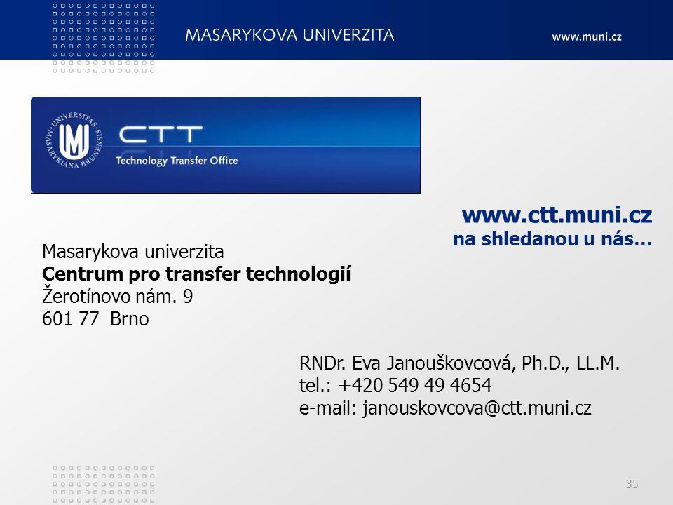 35 www.ctt.muni.cz na shledanou u nás… Masarykova univerzita Centrum pro transfer technologií Žerotínovo nám.