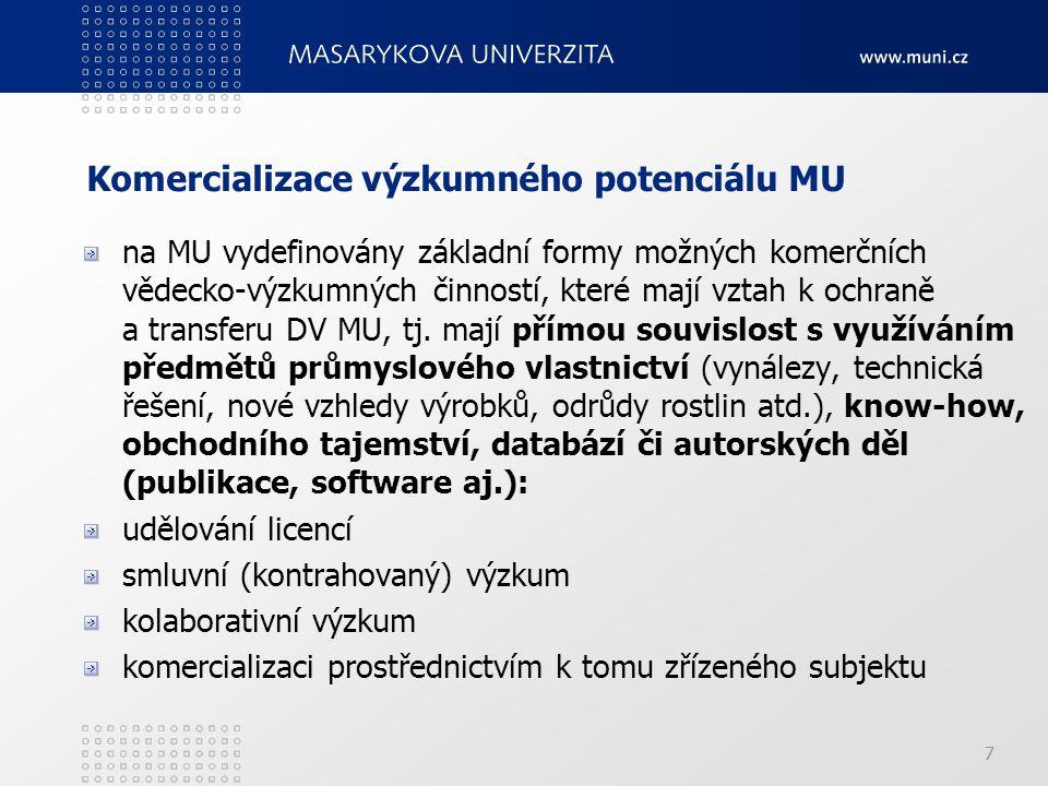 77 Komercializace výzkumného potenciálu MU na MU vydefinovány základní formy možných komerčních vědecko ‑ výzkumných činností, které mají vztah k ochraně a transferu DV MU, tj.