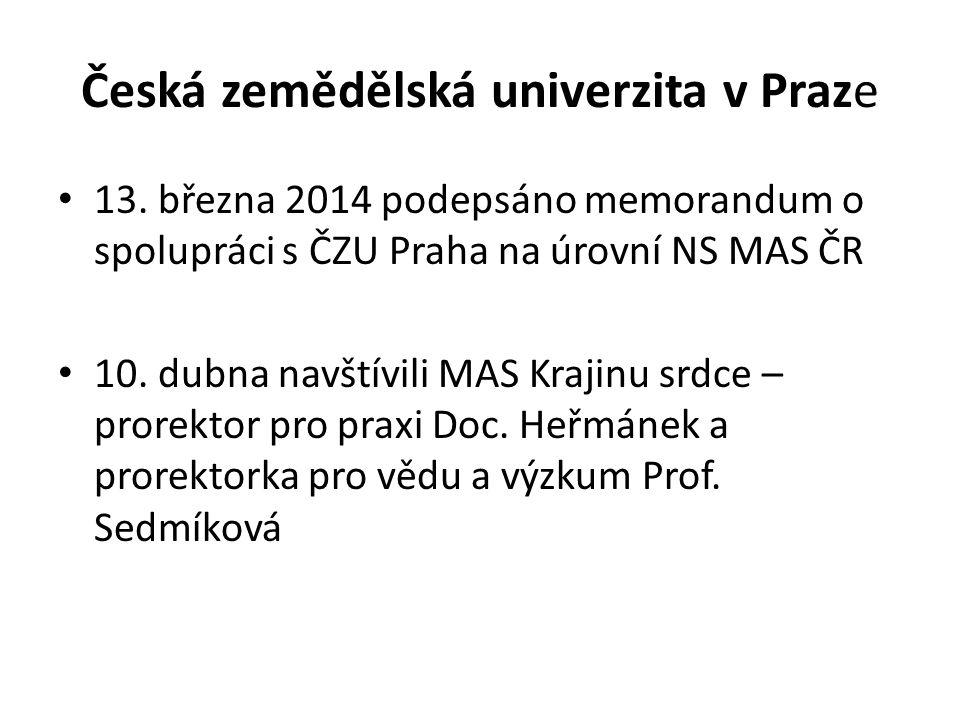 Česká zemědělská univerzita v Praze 13. března 2014 podepsáno memorandum o spolupráci s ČZU Praha na úrovní NS MAS ČR 10. dubna navštívili MAS Krajinu