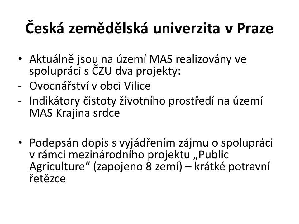 Česká zemědělská univerzita v Praze Aktuálně jsou na území MAS realizovány ve spolupráci s ČZU dva projekty: -Ovocnářství v obci Vilice -Indikátory či