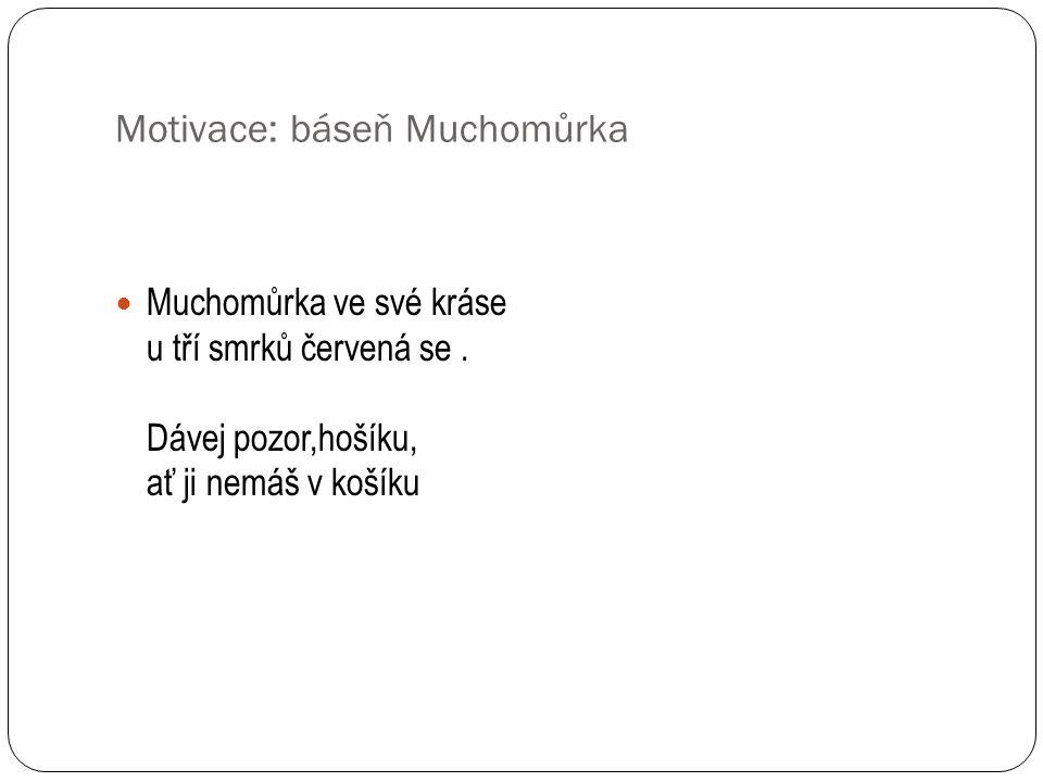 Motivace: báseň Muchomůrka Muchomůrka ve své kráse u tří smrků červená se.