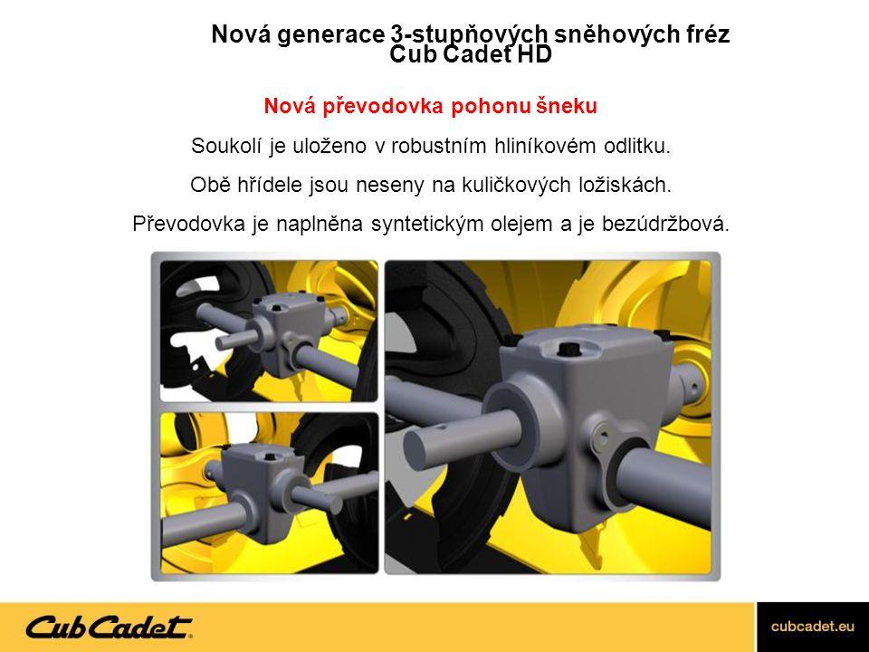 """Nový heavy-duty bunkr: - Tloušťka materiálu 2 mm (dříve 1,6 mm) - Výška bunkru 58 cm (dříve 53 cm) - Větší hloubka bunkru, který musí pojmout větší objem sněhu - Větší horní """"límec , který vrací sníh zpět před bunkr = čistší vyfrézovaná stopa Nová generace 3- stupňových sněhových fréz Cub Cadet HD"""