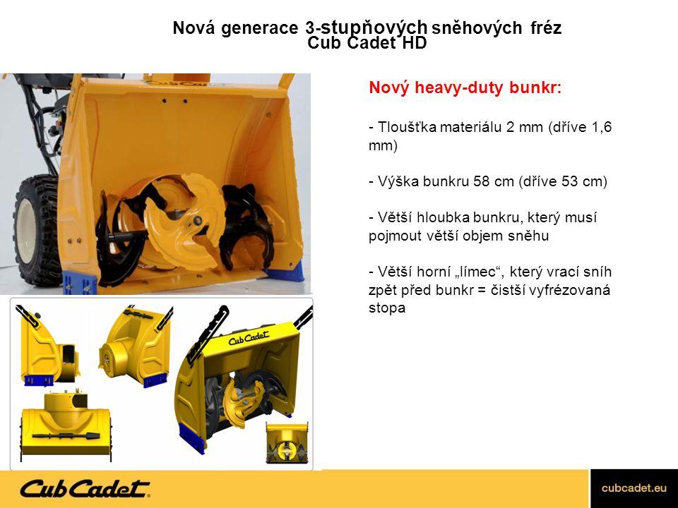 Nový heavy-duty bunkr: - Tloušťka materiálu 2 mm (dříve 1,6 mm) - Výška bunkru 58 cm (dříve 53 cm) - Větší hloubka bunkru, který musí pojmout větší ob
