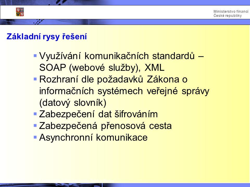 Integrovaný informační systém Státní pokladny Ministerstvo financí České republiky Základní rysy řešení  Využívání komunikačních standardů – SOAP (we