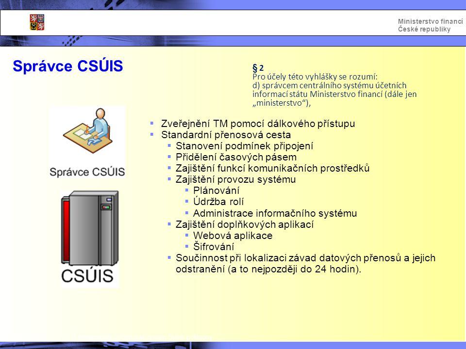 Integrovaný informační systém Státní pokladny Ministerstvo financí České republiky Správce CSÚIS  Zveřejnění TM pomocí dálkového přístupu  Standardn