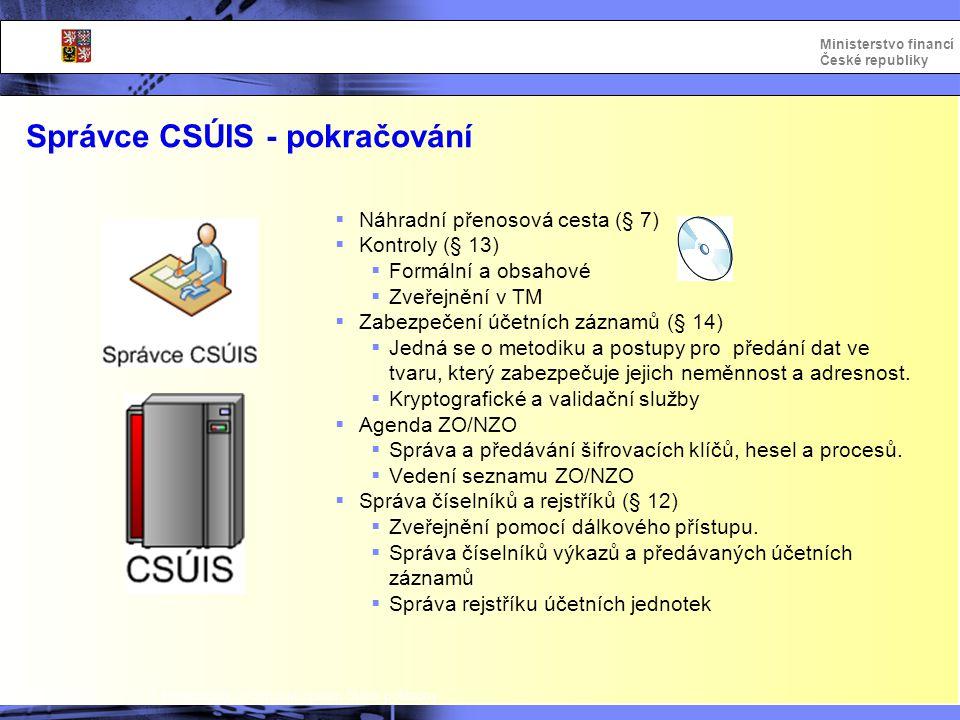 Integrovaný informační systém Státní pokladny Ministerstvo financí České republiky Správce CSÚIS - pokračování  Náhradní přenosová cesta (§ 7)  Kont