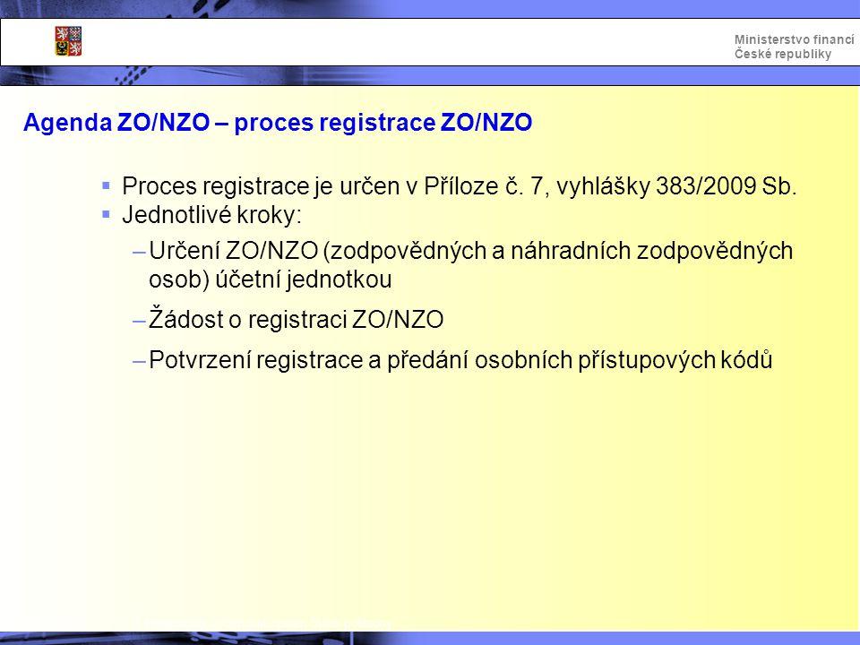 Integrovaný informační systém Státní pokladny Ministerstvo financí České republiky Agenda ZO/NZO – proces registrace ZO/NZO  Proces registrace je urč