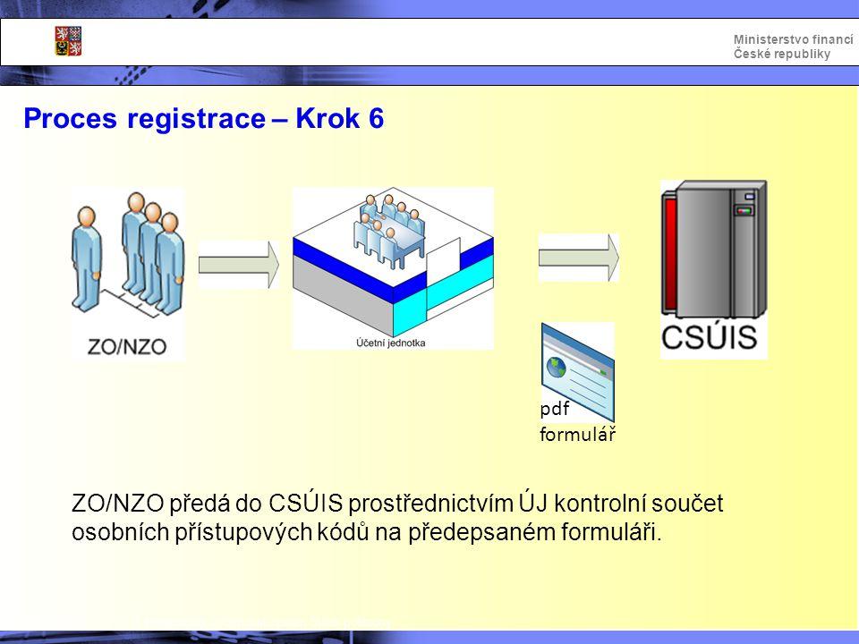 Integrovaný informační systém Státní pokladny Ministerstvo financí České republiky ZO/NZO předá do CSÚIS prostřednictvím ÚJ kontrolní součet osobních