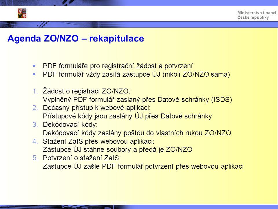 Integrovaný informační systém Státní pokladny Ministerstvo financí České republiky Agenda ZO/NZO – rekapitulace  PDF formuláře pro registrační žádost