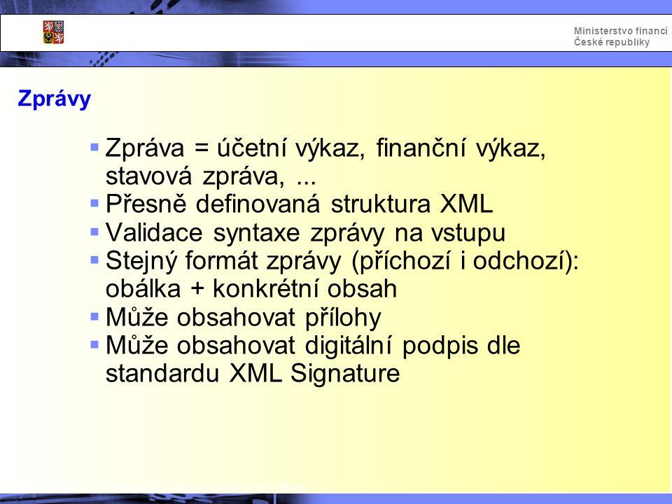 Integrovaný informační systém Státní pokladny Ministerstvo financí České republiky Zprávy  Zpráva = účetní výkaz, finanční výkaz, stavová zpráva,...