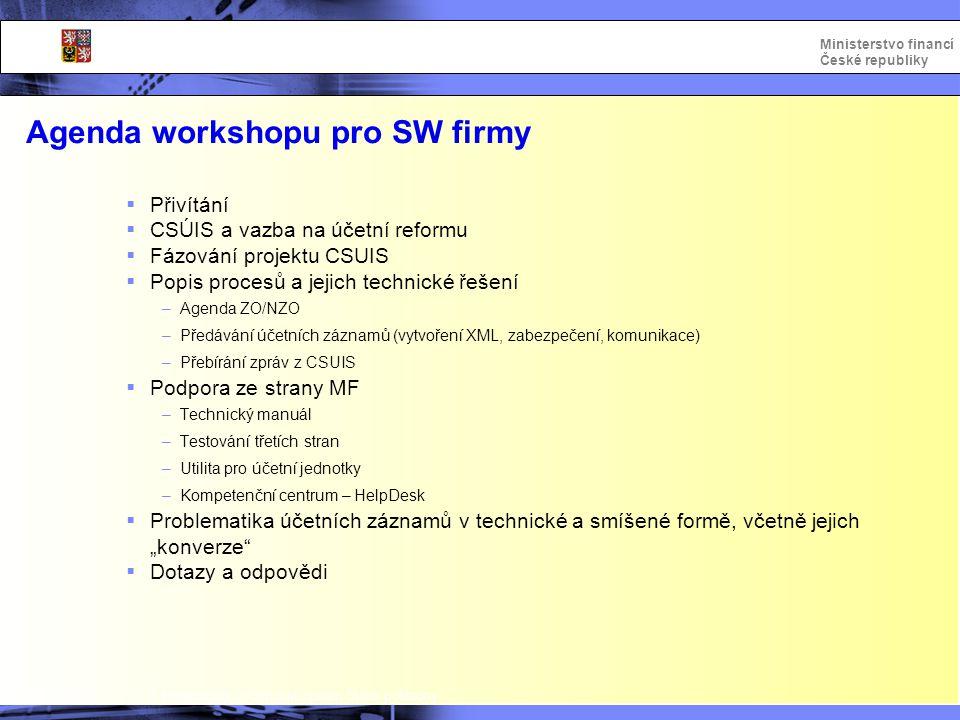 Integrovaný informační systém Státní pokladny Ministerstvo financí České republiky Agenda workshopu pro SW firmy  Přivítání  CSÚIS a vazba na účetní