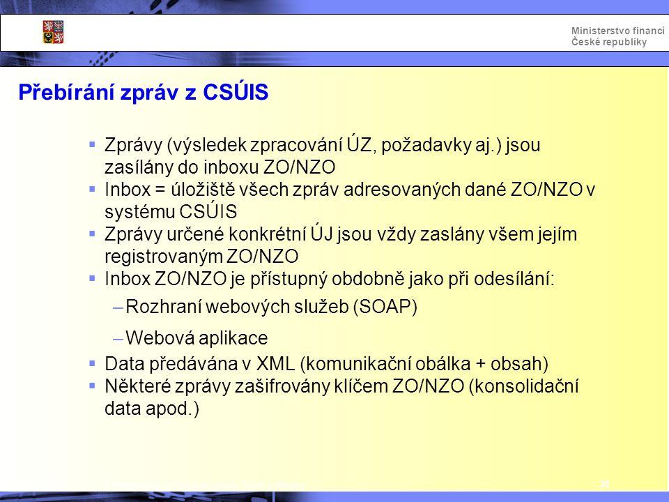 Integrovaný informační systém Státní pokladny Ministerstvo financí České republiky Přebírání zpráv z CSÚIS 38  Zprávy (výsledek zpracování ÚZ, požada