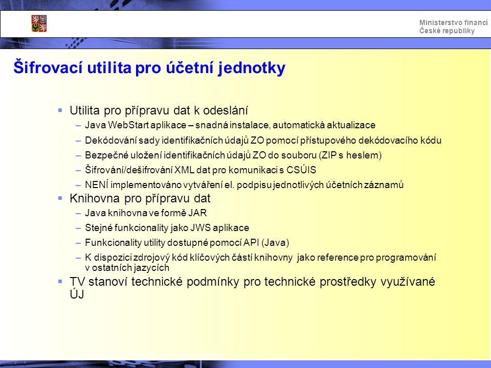 Integrovaný informační systém Státní pokladny Ministerstvo financí České republiky Šifrovací utilita pro účetní jednotky  Utilita pro přípravu dat k