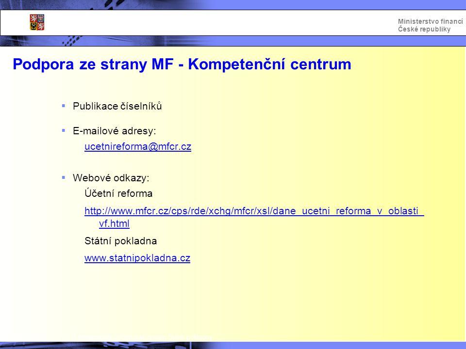 Integrovaný informační systém Státní pokladny Ministerstvo financí České republiky Podpora ze strany MF - Kompetenční centrum  Publikace číselníků 