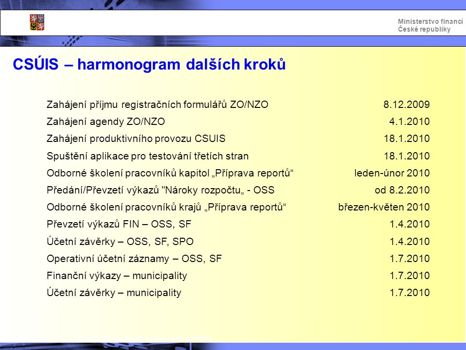 Integrovaný informační systém Státní pokladny Ministerstvo financí České republiky CSÚIS – harmonogram dalších kroků Zahájení příjmu registračních for