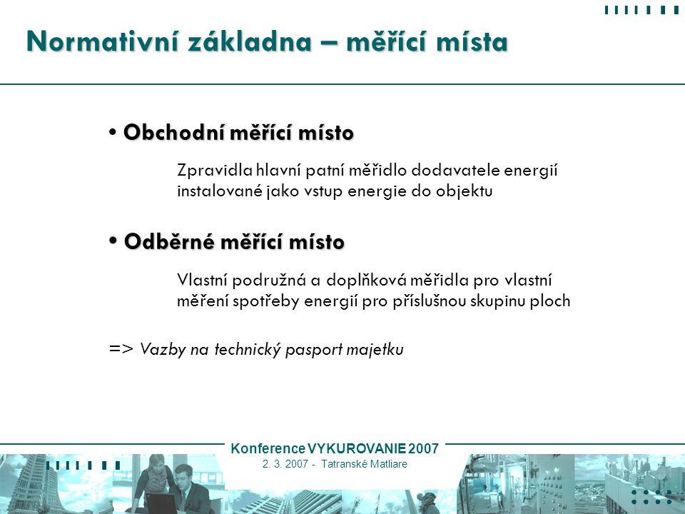 Konference VYKUROVANIE 2007 2. 3. 2007 - Tatranské Matliare Normativní základna – měřící místa Obchodní měřící místo Zpravidla hlavní patní měřidlo do