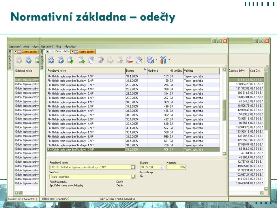 Konference VYKUROVANIE 2007 2. 3. 2007 - Tatranské Matliare Normativní základna – odečty Účetní odečty Fakturovaná spotřeba dodavatelem energie Vlastn