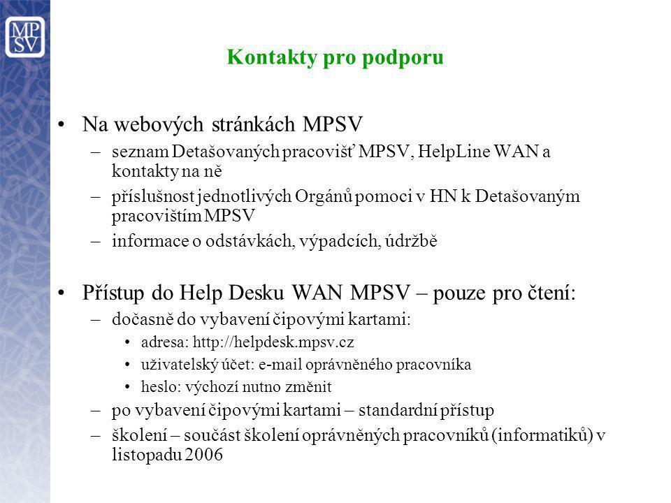 Kontakty pro podporu Na webových stránkách MPSV –seznam Detašovaných pracovišť MPSV, HelpLine WAN a kontakty na ně –příslušnost jednotlivých Orgánů po