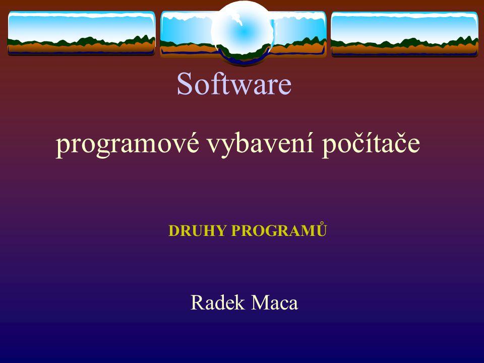 programové vybavení počítače Software Radek Maca DRUHY PROGRAMŮ