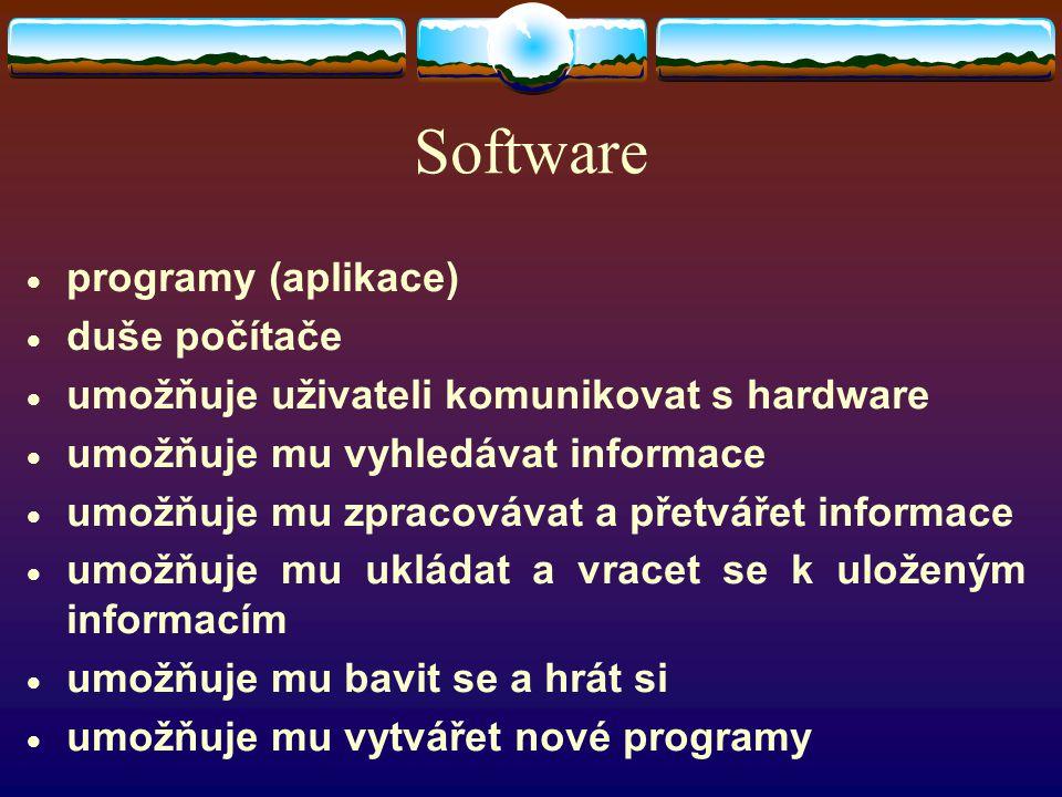Software  programy (aplikace)  duše počítače  umožňuje uživateli komunikovat s hardware  umožňuje mu vyhledávat informace  umožňuje mu zpracovávat a přetvářet informace  umožňuje mu ukládat a vracet se k uloženým informacím  umožňuje mu bavit se a hrát si  umožňuje mu vytvářet nové programy