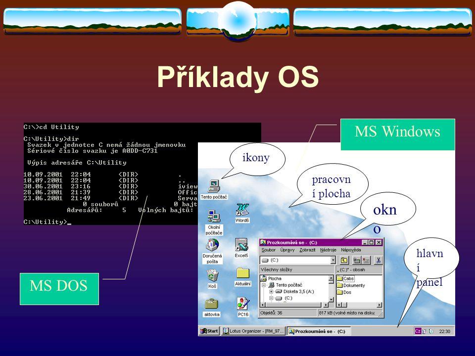 Příklady OS ikony pracovn í plocha okn o hlavn í panel MS DOS MS Windows