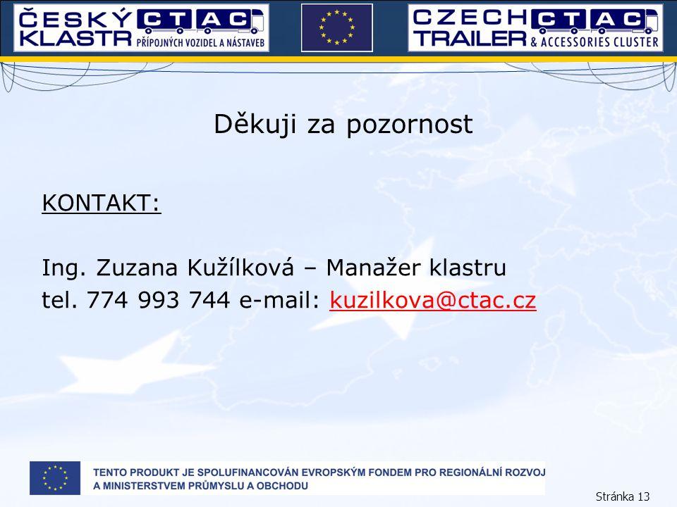 Stránka 13 Děkuji za pozornost KONTAKT: Ing. Zuzana Kužílková – Manažer klastru tel. 774 993 744 e-mail: kuzilkova@ctac.czkuzilkova@ctac.cz