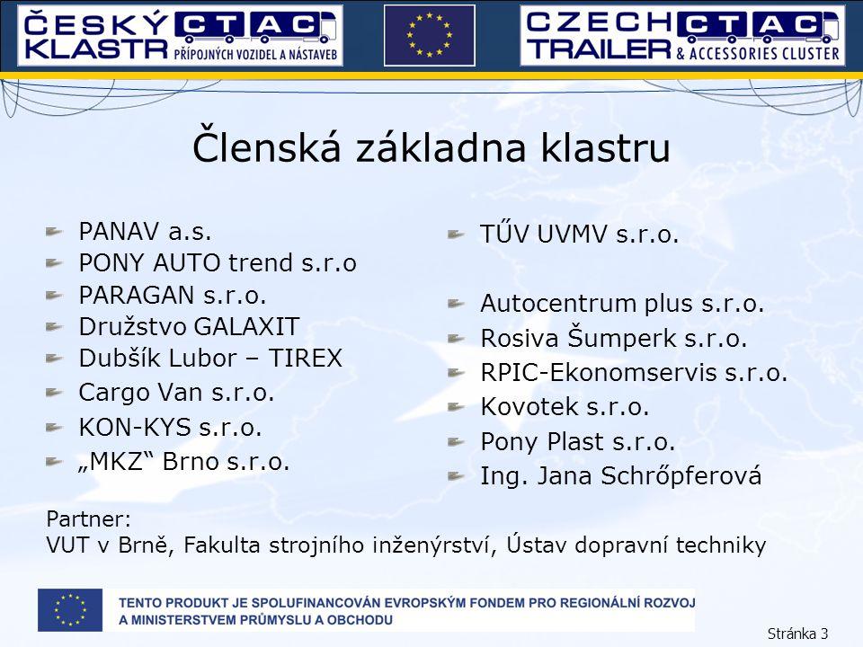 Stránka 3 Členská základna klastru PANAV a.s. PONY AUTO trend s.r.o PARAGAN s.r.o. Družstvo GALAXIT Dubšík Lubor – TIREX Cargo Van s.r.o. KON-KYS s.r.