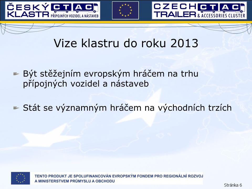 Stránka 6 Vize klastru do roku 2013 Být stěžejním evropským hráčem na trhu přípojných vozidel a nástaveb Stát se významným hráčem na východních trzích