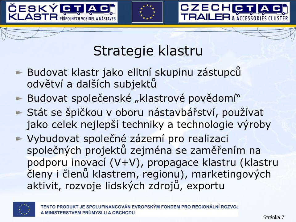 """Stránka 7 Strategie klastru Budovat klastr jako elitní skupinu zástupců odvětví a dalších subjektů Budovat společenské """"klastrové povědomí"""" Stát se šp"""
