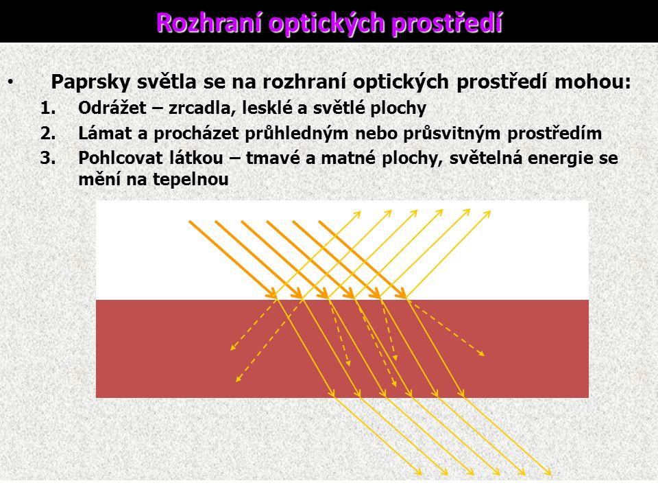 Paprsky světla se na rozhraní optických prostředí mohou: 1.Odrážet – zrcadla, lesklé a světlé plochy 2.Lámat a procházet průhledným nebo průsvitným pr