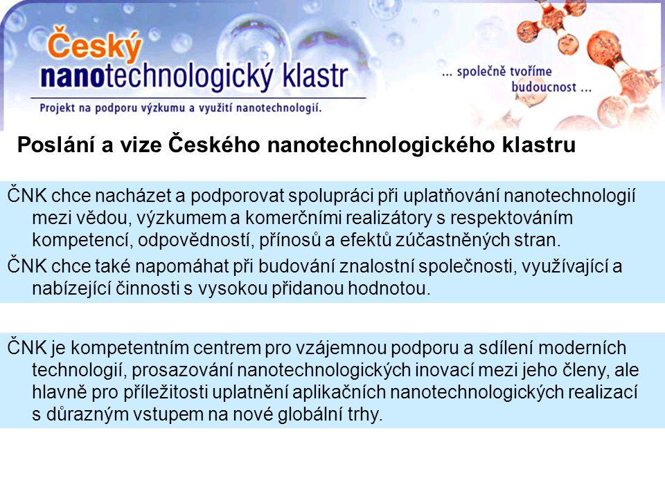 ČNK chce nacházet a podporovat spolupráci při uplatňování nanotechnologií mezi vědou, výzkumem a komerčními realizátory s respektováním kompetencí, odpovědností, přínosů a efektů zúčastněných stran.