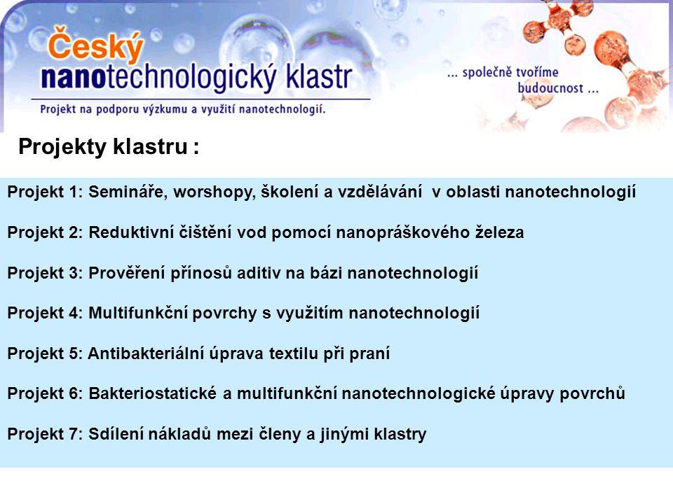 Projekt 1: Semináře, worshopy, školení a vzdělávání v oblasti nanotechnologií Projekt 2: Reduktivní čištění vod pomocí nanopráškového železa Projekt 3: Prověření přínosů aditiv na bázi nanotechnologií Projekt 4: Multifunkční povrchy s využitím nanotechnologií Projekt 5: Antibakteriální úprava textilu při praní Projekt 6: Bakteriostatické a multifunkční nanotechnologické úpravy povrchů Projekt 7: Sdílení nákladů mezi členy a jinými klastry Projekty klastru :